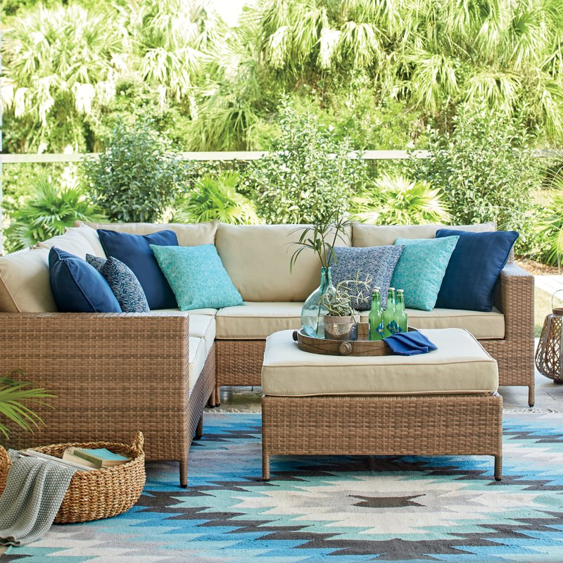 Hillcrest Wicker Look Sectional with Outdoor Decorative Cushions